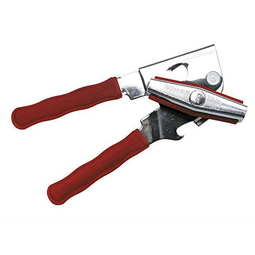 1 Pc Steel Ergo Grip Manual Can Opener with Red Silicone Handles