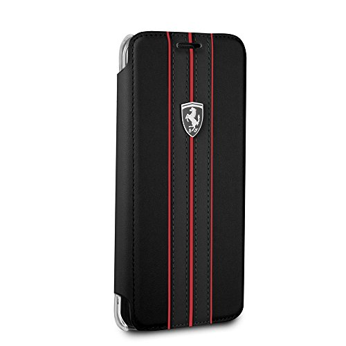 Ferrari Bookstyle PU Leather Case for Samsung Galaxy S8 Plus Cell Phone Cover Off Track Collection Black with contrasting Red Stitching finishes Easy Snap-on Shock Absorption Cover Officially Licensed