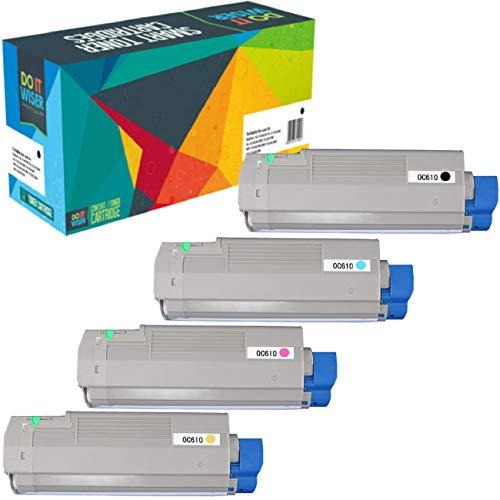Do it Wiser Remanufactured Toner Cartridge Replacement for Oki C610 C610n c610dn   44315304 44315303 44315302 44315301 (Black Cyan Magenta Yellow, 4-Pack)