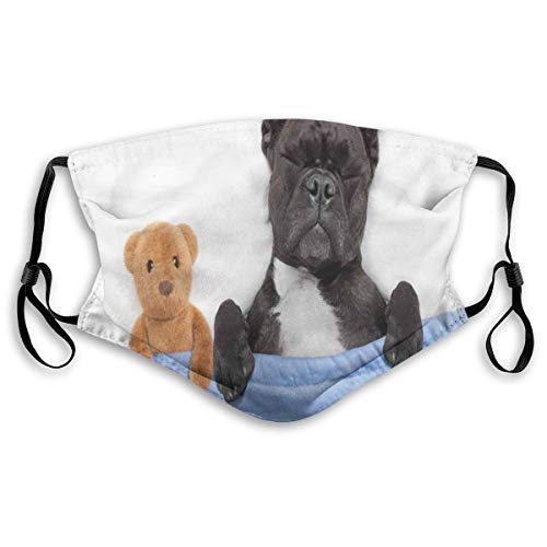 FAKAINU Face Cover French Bulldog Sleeping with Teddy Bear in Cozy Bed Best Friends Fun Dreams Image Unisex Reusable Windproof Anti-Dust Mouth Bandanas Outdoor Camping Running Gaiter with 2 Filters