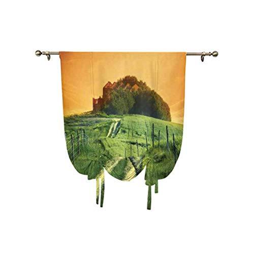 Tenda a pannello in stile toscano, paesaggio tranquillo di Pienza, Toscana, vigneti, alberi rurali, antiche fattorie, termiche, isolanti, 100 x 150 cm, per soggiorno, tenda romana, arancione e verde