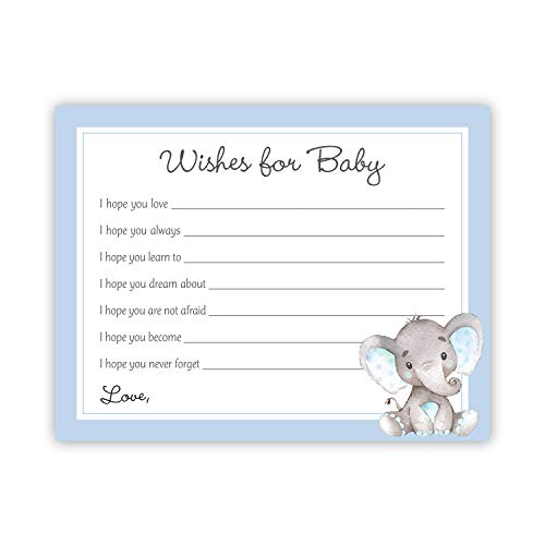 48 cnt Watercolor Elephant Baby Wish Cards (Blue)