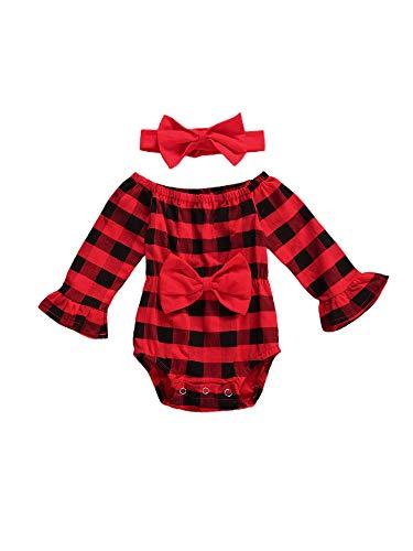 Carolilly - Mono de bebé con lazo escocés para niña, 2 unidades rojo 18-24 Meses