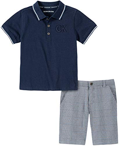 Calvin Klein Boys' 2 Pieces Polo Shorts Set, Navy/Blue, 5 Boys Navy Short Set