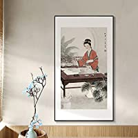 南京回廊の繁体字中国語12人の美女キャンバス絵画壁アートプリントポスター写真部屋の家の装飾40X80cmフレームレス