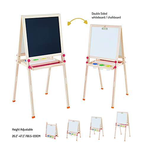 Teamson Kids  Little Artist Dreamer Art Kids Easels DoubleSided Whiteboard amp Chalkboard with Paint Cups Paper Roll and Clip Wooden Adjustable Standing for Kids Boys Girls Toddler Wood / Red