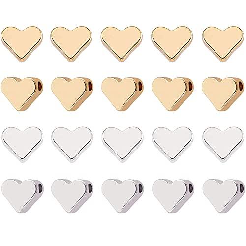 20 Piezas Cuentas de Corazón de Metal Cuentas en Forma de Corazón Corazón de Cuentas de Metal Corazón de Perlas de Metal de Cobre se Utiliza para Hacer Joyas de Bricolaje y Otras Artesanías