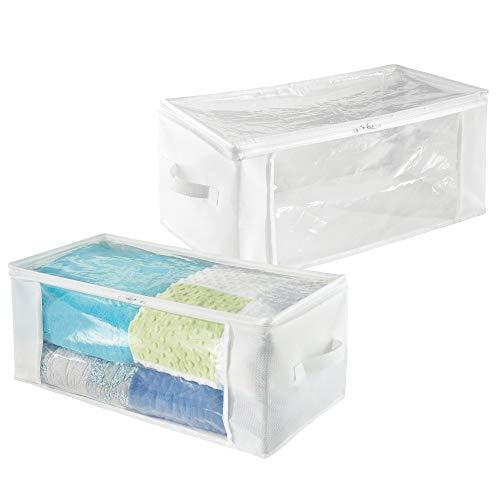 mDesign Set da 2 Scatole armadio in tessuto con cerniera – Contenitore portaoggetti in polipropilene traspirante – Organizer Box ideale per vestiti, biancheria da letto e coperte – bianco/trasparente