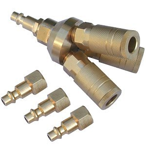 Anytime Tools 3-Way SOLID BRASS Quick Connect Air Tool / Hose Coupler / Manifold / Hose Splitter