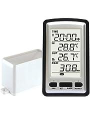 Elektronische regenmeter, draadloos, draagbaar, hoge precisie, draadloze bediening, digitale regenmeter, meetinstrument voor regenmeter, thermometer, luchtvochtigheid voor binnen en buiten