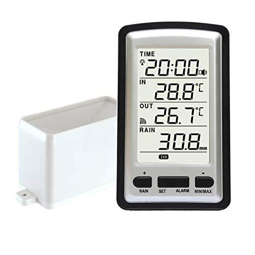 Pluviomètre électronique,Pluviomètre sans fil Portable Haute Précision Radio Contrôlé Numérique Pluviomètre Outil de Mesure de Pluviomètre Thermomètre Humidité Compteur pour Intérieur et Extérieur