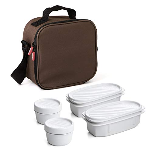 Tatay Urban Food Casual, Bolsa Térmica Porta Alimentos, 3L de Capacidad, con 4 Tuppers Herméticas (2 x 0.5L, 2 x 0.2L), Color Marrón. Medidas 22.5 x 10 x 22 cm