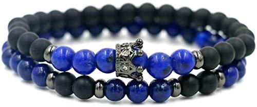 PRTOYO Pulsera de Piedra Mujer, 7 Chakra Natural Lapis Beads Frosted Stone Bangle Black Crown Joyería Yoga Energía Balance Charm Difusor Mujer Pulsera Regalo