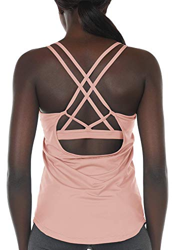 icyzone Workout Tank Tops Built in Bra