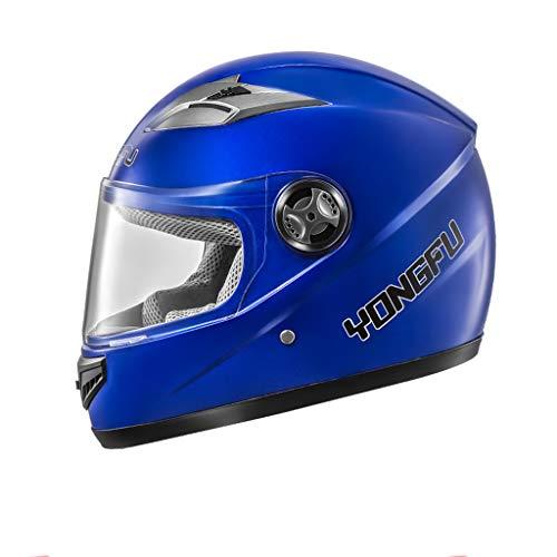 FLY® Casque De Moto Électrique, Casque Intégral Quatre Saisons, Casque De Protection Anti-buée, 5 Couleurs (Couleur : Bleu)