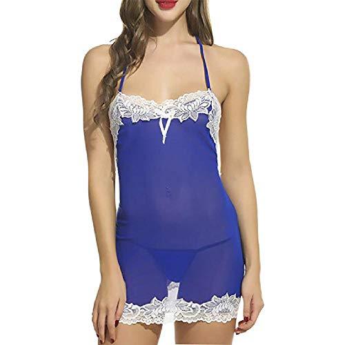 nobrand Sexy Pyjamas für Frauen NachthemdenUltradünne Dessous-Spitze mit G-String-Tanga-Nachtwäsche
