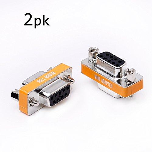 DB9 null Modem Buchse auf Buchse Slimline Daten Transfer Serial Port Adapter 2er Set
