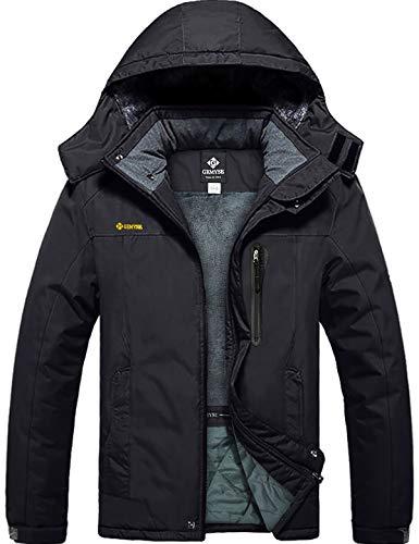 GEMYSE Men's Mountain Waterproof Ski Snow Jacket Winter Windproof Rain Jacket (Black,L)