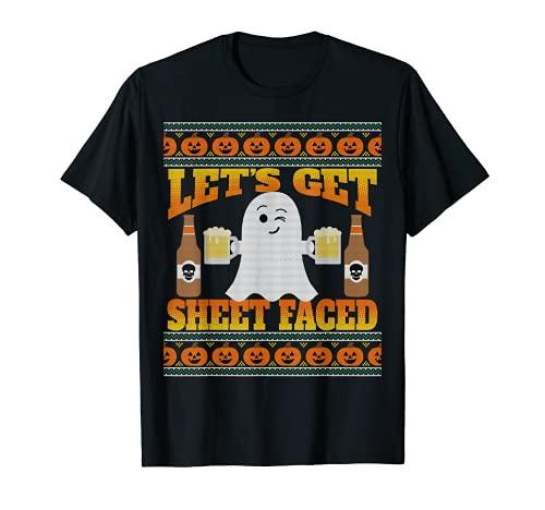 Ugly Halloween Suéter Estilo Cerveza Let's Get Hoja Frente Camiseta