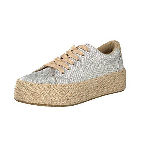 Brandsseller Damen Espadrilles Sommer Freizeitschuh Sneaker - mit Glitzer- Farbe: Silber - Gr: 36