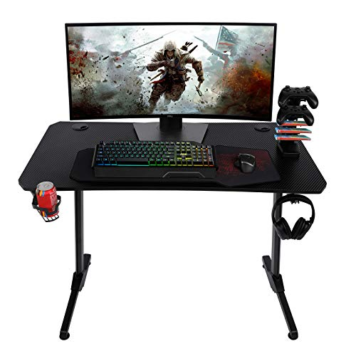 """AuAg 44"""" Gaming Desk with Handle Rack, Small T-Shaped Office PC Computer Desk with Free Mouse Pad, Processional Game Station with Holder, Headphone Hook"""