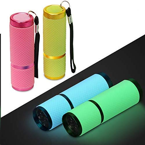Adecco LLC 9 LED Glow in Dark Flashlights, 4 Pack Rubber Coated Small Flashlights with Straps, Portable Handy Lights for Camping, Hiking, Indoor, Assorted Colors