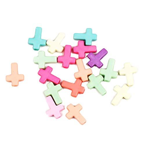Healifty Cuentas Cruzadas de acrílico de 100pcs Colgante Grueso del Color Mezclado Colgante para la fabricación de la joyería del Collar