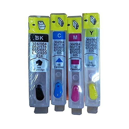 1 Juego 178 Cartucho de Tinta Recargable Compatible Photosmart 5515 5510 B109a B110a Plus B209a B210a Deskjet 3070A 3520 (Color : China)