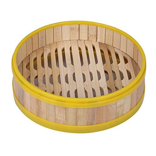 MERIGLARE Madera de Bambú Natural del Borde Plástico Que Cocina La Cesta de Las Verduras de Las Bolas de Masa Hervida - 30cm de Vapor