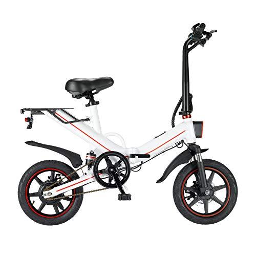 CW.LYANS V5 Bicicletas eléctricas para Aldults, Bicicletas eléctricas Plegables Velocidad máxima 25 km/h 48 V 400 W 14 Pulgadas Ruedas Mini Bicicletas eléctricas para Hombres y Mujeres (15AH White)