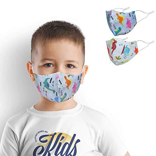 2er-Set Mund und Nasenschutz für Kinder   Stoff-Maske Mundschutz Waschbar Wiederverwendbar Motiv Lustig Bunt   Dino Dinosaurier (2 x 1 Stück)