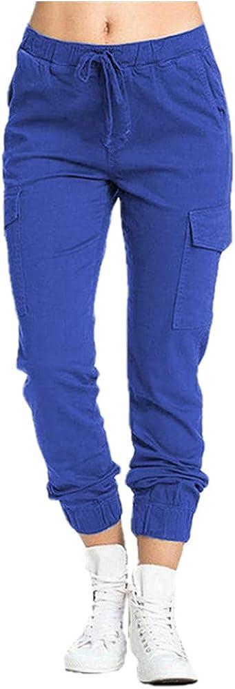 NP Women's Trousers Workwear Pants Casual Elastic Waist Side Pocket Women's Blue