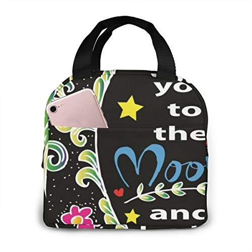 Ltaly Retro Poster Unisex Draagbare Herbruikbare Waterdichte Thermische Isolatie Lunch Bag Picknick Bag Winkeltas Koelbox Eén maat I Love You to the Moon and Back