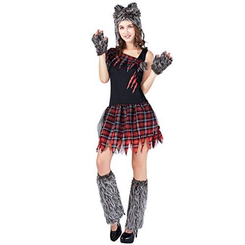 YuanDian Erwachsene Halloween Kostüme Bloody Horror Skelett Werwolf Verkleidung Schminke Cosplay Outfit Sets Einfach Karneval Faschingskostüme 5# Weiblicher Werwolf 160-175cm