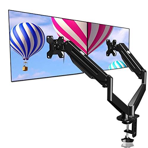 Suptek Soporte de soporte para monitor dual con resorte de gas ajustable para 2 pantallas de computadora de 17 a 27 pulgadas, cada...