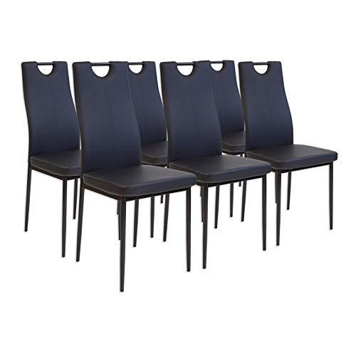 Albatros 2914 Salerno Set de 6 sillas de Comedor, Negro
