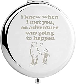 Muminglong Classic Winnie the Pooh Quotes and Saying Travel Beauty Makeup Mirror Gifts for Sister Friends Girls Daughter,Graduation Present for Her (sliver)