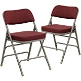 Flash Furniture 2 Pk. HERCULES Series Premium Curved Triple Braced & Double Hinged Burgundy Fabric Metal Folding Chair