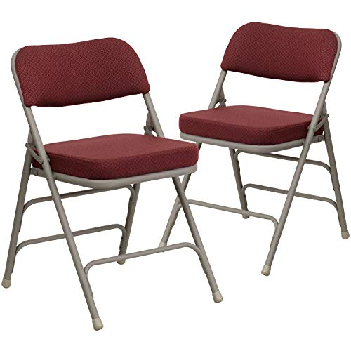 Flash Furniture 2 Pack HERCULES Series Premium Curved Triple Braced & Double Hinged Burgundy Fabric Metal Folding Chair