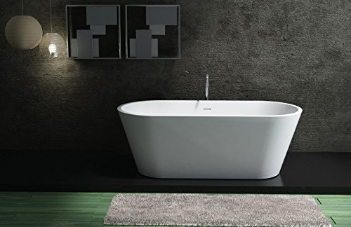 Freistehende Badewanne aus Mineralguss ALMERIA STONE weiß - 170 x 80 cm - Solid Stone - Zubehör optional, Standarmatur:Ohne Standarmatur, Siphon:Inkl. Siphon