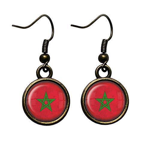Morocco Moroccan Flag Marokko Marokkanische Flagge Antike Bronze Ohrringe