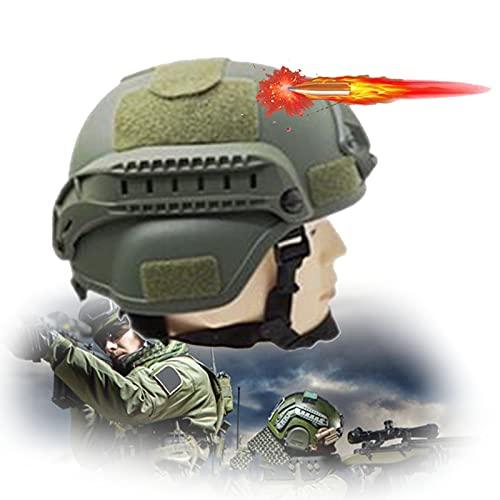 防弾ヘルメット、MICH2000タクティカルヘルメット、頭の保護、個人の安全、ストライキ、抗議パレード、装備軍用ファン保護ヘルメット,グリーン,Level 2