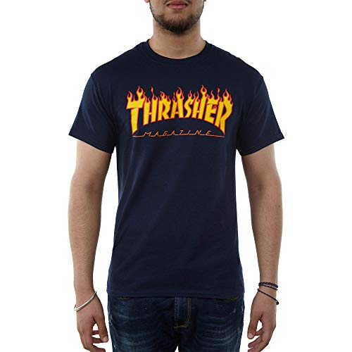 THRASHER Flame T-Shirt Navy