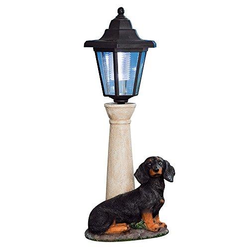 Bits and Pieces - Solar Dachshund Lantern - Solar Powered Garden Lantern - Resin Dog Sculpture With LED Light