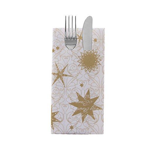 Sovie Home Besteckservietten Christmas Dreams Gold | aus Linclass® Airlaid | Servietten Weihnachten | 40x40cm,12 Stück