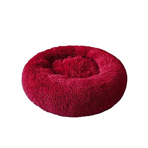 Cama de felpa redonda para gato, casa de gato, alfombrilla cálida para dormir, nido, cesta de perro, cojín para mascotas, portátil, suministros de viaje, 60 cm de diámetro