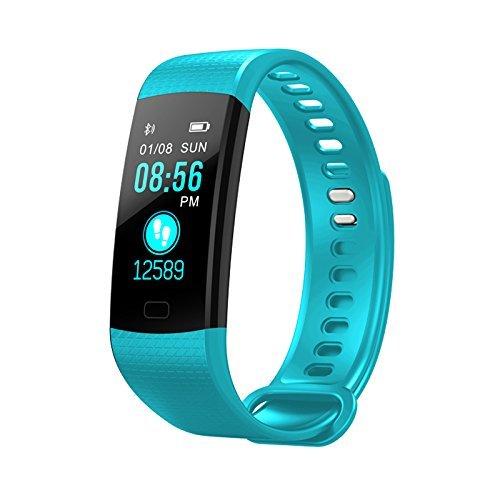 Suney Fitness Uhr, Bluetooth Smart Watch Weiches Armband stilvoll einstellbar Silione Living Wasserdichte Sport Armband Herzfrequenz/Blutdruckmessgerät Gesundheit Tracker für Männer - Hellblau