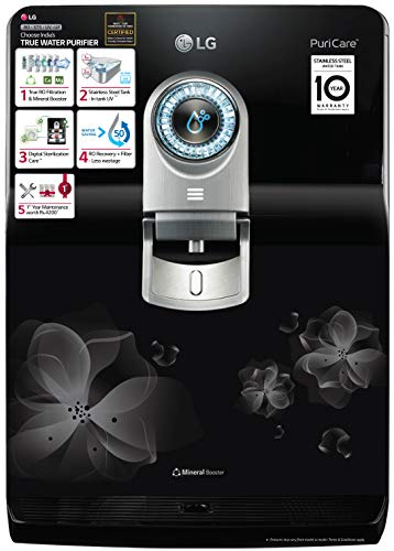 LG WW182EP RO+STS+UV+UF (Mineral Booster) RO Multi-Stage Filtration with 8 LTR. Dual Protection Stainless Steel Tank (Black with Floral Pattern)