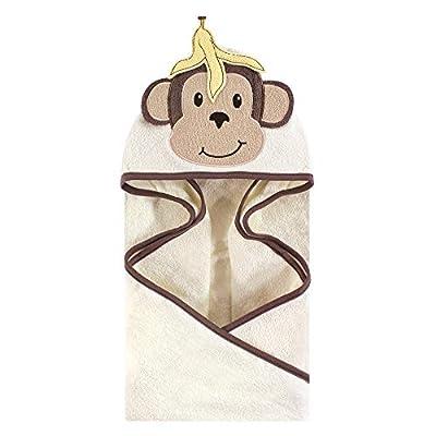 Hudson Baby Unisex Baby Cotton Animal Face Hooded Towel, Banana Monkey, One Size
