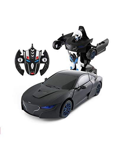 Comtechlogic® CM-1253 1:14 Rc Radio Remote Control RS Man One Key Transformable Transformer Car Action Figure Robot (Black (27MHZ))